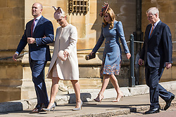 Windsor, UK. 21st April 2019. Mike and Zara Tindall, Princess Beatrice and the Duke of York arrive to attend the Easter Sunday service at St George's Chapel in Windsor Castle.