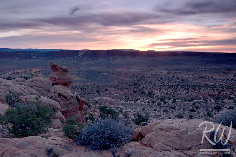 Doc Williams Viewpoint at Sunset, Arches National Park, Utah
