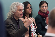 """Steven Pinker, Johnstone Family Professor of Psychology, Harvard University, USA speaking during the Session """"Stop to Think: Zero-Sum Parenting"""" at the Annual Meeting 2018 of the World Economic Forum in Davos, January 26, 2018.<br /> Copyright by World Economic Forum / Greg Beadle"""