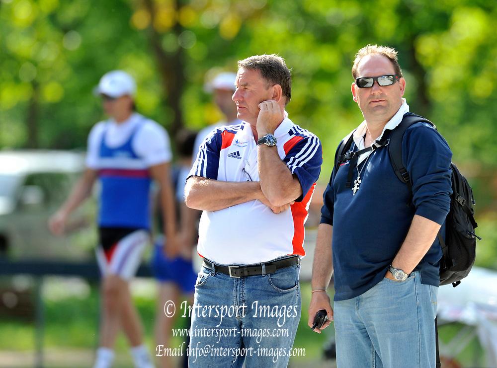 Bled, SLOVENIA.  General View, GV athletes, GBR Coaches, left  Jurgen GROBLER and Christian FELKEL.  1st FISA World Cup, on Lake Bled. Thursday  27/05/2010  [Mandatory Credit Peter Spurrier/ Intersport Images]