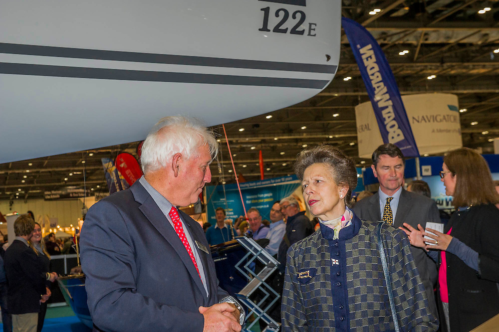 Here on the J class stand. HRH Princess Anne attend the show with her husband.  They make a tour of the show which includes awarding the Yachtmaster of the Year award, on the RYA stand, as well as meeting Sir Ben Ainslie, on his BAR stand. The CWM FX London Boat Show, taking place 09-18 January 2015 at the ExCel Centre, Docklands, London. 09 Jan 2015.