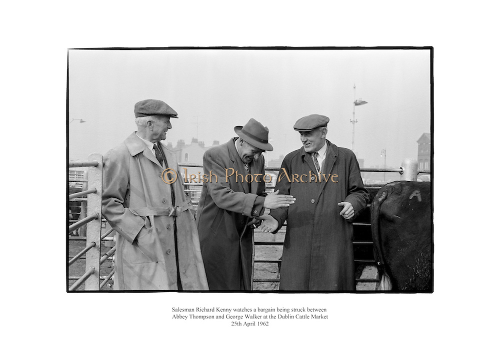 Salesman Richard Kenny watches a bargain being struck between Abbey Thompson and George Walker at the Dublin Cattle Market.<br />