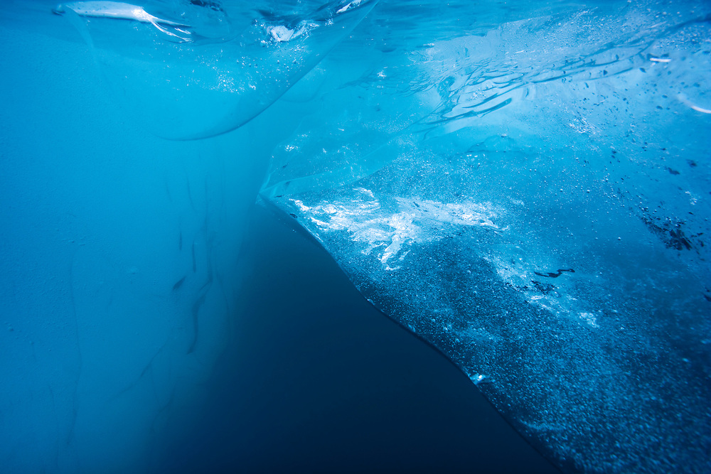 Iceland, Skaftafell National Park, Underwater view of Icebergs from Vatnajokull Glacier in Jokulsarlon Lake