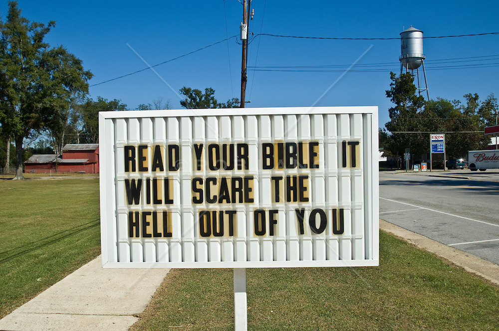 Roadside Church Sign In The South