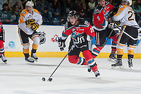 KELOWNA, CANADA - OCTOBER 25: Cole Linaker #26 of Kelowna Rockets skates with the puck against the Brandon Wheat Kings on October 25, 2014 at Prospera Place in Kelowna, British Columbia, Canada.  (Photo by Marissa Baecker/Shoot the Breeze)  *** Local Caption *** Cole Linaker;