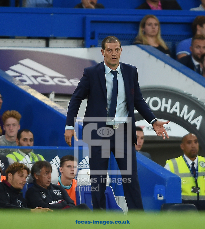 West Ham United manager Slaven Bilic during the Premier League match at Stamford Bridge, London<br /> Picture by Daniel Hambury/Focus Images Ltd +44 7813 022858<br /> 15/08/2016