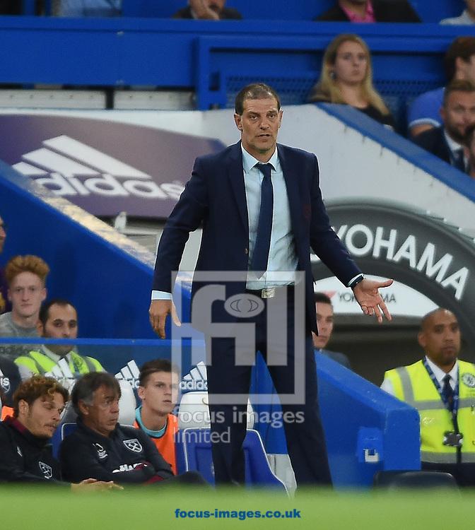 West Ham United manager Slaven Bilic during the Premier League match at Stamford Bridge, London<br /> Picture by Daniel Hambury/Focus Images Ltd +44 7813 022858<br /> 15/08/2016