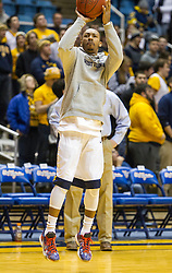 Feb 13, 2016; Morgantown, WV, USA; West Virginia Mountaineers guard Jevon Carter (2) warms up before their game against the TCU Horned Frogs at the WVU Coliseum. Mandatory Credit: Ben Queen-USA TODAY Sports