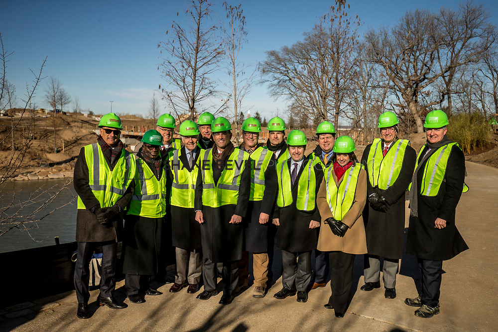 1/12/18 11:12:55 AM -- Halliburton CEO Jeff Miller and George Kaiser visit the Gathering Place for a press conference announcing Halliburton's support for the park. <br /> <br /> Photo by Shane Bevel