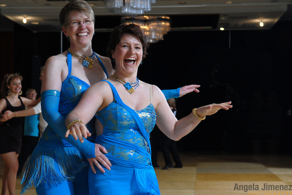 Same-sex ballroom dancers Jo Vaughan, right, of Hertfordshire, England, and .Julia Smailes, of London, England, compete in the women's latin competition at the 5 Boro Dance Challenge on May 5, 2007...The locally produced 5 Boro Dance Challenge, New York City's first major same-sex dance competition, was held at the Park Central Hotel in Manhattan from May 4-6, 2007. .