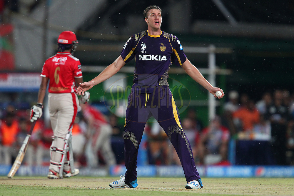 Morne Morkel of the Kolkata Knight Riders appeals for the wicket of Wriddhiman Saha of the Kings X1 Punjab during the first qualifier match (QF1) of the Pepsi Indian Premier League Season 2014 between the Kings XI Punjab and the Kolkata Knight Riders held at the Eden Gardens Cricket Stadium, Kolkata, India on the 28th May  2014<br /> <br /> Photo by Ron Gaunt / IPL / SPORTZPICS<br /> <br /> <br /> <br /> Image use subject to terms and conditions which can be found here:  http://sportzpics.photoshelter.com/gallery/Pepsi-IPL-Image-terms-and-conditions/G00004VW1IVJ.gB0/C0000TScjhBM6ikg