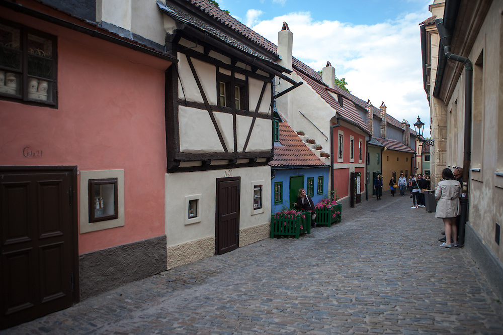 A view to the Golden Lane at Prague Castle during the day.