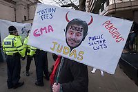 Protesters on an anti cuts demonstration outside the Liberal Democrat spring conference in Sheffield. 11-03-3011.