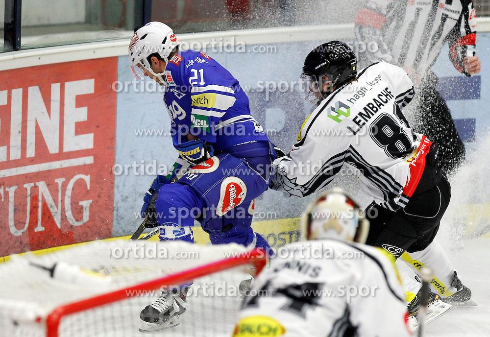 13.11. 2013, Stadthalle, Villach, AUT, EBEL, EC VSV vs Dornbirner EC, 34. Runde, im Bild Benjamin Petrik (VSV,#21) und Robert Lembacher (Dornbirn,#81)// during the Erste Bank Icehockey League 34th round between EC VSV vs Dornbirner EC, at the City Hall, Villach, Austria, 2013/11/13, EXPA Pictures © 2013, PhotoCredit: EXPA/ Oskar Hoeher