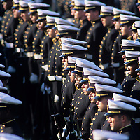 USA, Maryland, Cadets stand in formation at formal parade march at US Naval Academy in Annapolis.