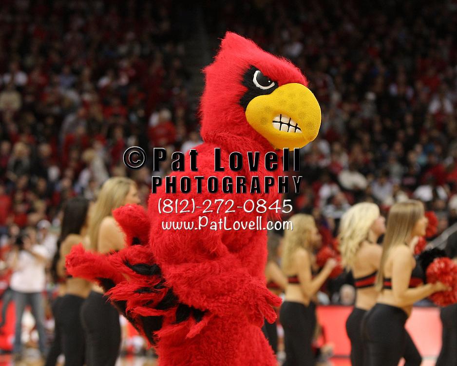 January 14, 2012 -  University of Louisville Cardinal mascot during an NCAA basketball game between DePaul and (#15) Louisville. at the KFC Yum! Center in Louisville, Kentucky.