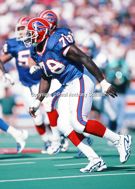 Buffalo Bills defensive end Bruce Smith (78) chases the action during the NFL football game against the Detroit Lions on Oct. 5, 1997 in Orchard Park, N.Y. The Bills won the game 22-13. (©Paul Anthony Spinelli)