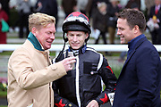 Trainer Tom Dascombe, Jockey Richard Kingscote and Owner Michael Owen share a joke and discuss tactics before BLYTON wins The TSG Keeping IT Real Handicap Stakes over 5f (£15,000) during the Countryside Raceday, October Finale at York Racecourse, York, United Kingdom on 12 October 2018. Pic Mick Atkins