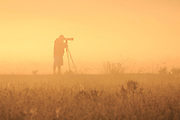 Silhouette of a photographer and tripod on a  back lit foggy morning.