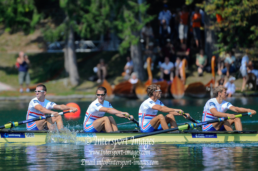 Bled, SLOVENIA.  GBR LM4-, Bow Richard CHAMBERS, Chris BARTLEY, Paul MATTICK and Rob WILLIAMS,  Winners Semifinal A/B 1, 2011 FISA World Rowing Championships, Lake Bled. Thursday  01/09/2011   [Mandatory Credit; Intersport Images]