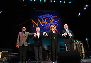 Oscar-winning Broadway composer Stephen Schwartz, second left, takes a bow with entertainers Ben Vereen, left, Debbie Gravitte and Scott Coulter, right, after an event announcing Schwartz's partnership with Princess Cruises, Thursday, March 12, 2015, at Millennium Broadway's Hudson Theatre in New York. (Photo by Diane Bondareff/Invision for Princess Cruises/AP Images)