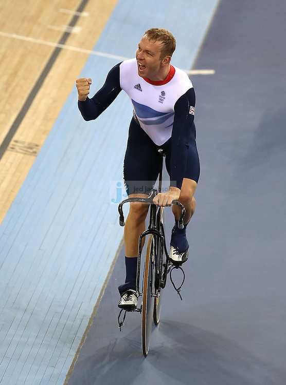 Chris Hoy of Great Britian celebrates after winning the men's cycling sprint finals at the velodrome during day 6 of the London Olympic Games in London, England, United Kingdom on August 2, 2012..(Jed Jacobsohn/for The New York Times)..