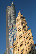 Wrigley Building shadowed by the Trump Tower downtown Michigan Avenue skyline in the Magnificent Mile Chicago USA