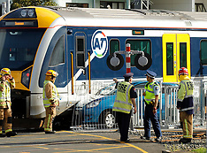 Auckland-Car hit by commuter train, Morningside