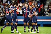 PSG Neymar celebrates with teammates after scoring during the French championship L1 football match between Paris Saint-Germain (PSG) and Caen on August 12th, 2018 at Parc des Princes, Paris, France - Photo Geoffroy Van der Hasselt / ProSportsImages / DPPI