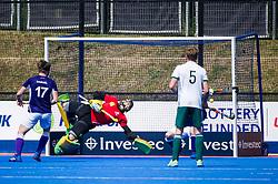 Sevenoaks' Richard Potton is beaten by a Canterbury penalty corner. Canterbury v Sevenoaks - Men's Hockey League Finals, Lee Valley Hockey & Tennis Centre, London, UK on 23 April 2017. Photo: Simon Parker