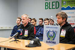 Ivo Jan, head coach and Dejan Varl, assistant coach during press conference of Slovenia Ice Hockey Team before friendly games against Hungary, Italy and Belarus, on February 4, 2019 in Bled, Slovenia. Photo by Peter Podobnik / Sportida