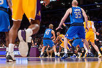 02 April 2013: Guard (24) Kobe Bryant of the Los Angeles Lakers looks to pass against the Dallas Mavericks during the second half of the Lakers 101-81 victory over the Mavericks at the STAPLES Center in Los Angeles, CA.