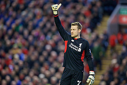 LIVERPOOL, ENGLAND - Boxing Day, Saturday, December 26, 2015: Liverpool's goalkeeper Simon Mignolet in action against Leicester City during the Premier League match at Anfield. (Pic by David Rawcliffe/Propaganda)