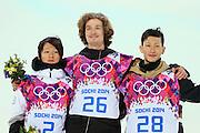 "(L to R) <br /> Ayumu Hirano (JPN), <br /> Iouri Podladtchikov (SUI), <br /> Taku Hiraoka (JPN), <br /> FEBRUARY 11, 2014 - Snowboarding : <br /> Men's Halfpipe Final <br /> at ""ROSA KHUTOR"" Extreme Park <br /> during the Sochi 2014 Olympic Winter Games in Sochi, Russia. <br /> (Photo by YUTAKA/AFLO SPORT)"