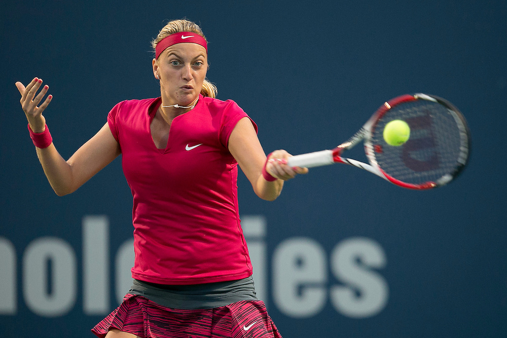 August 22, 2014, New Haven, CT:<br /> Petra Kvitova hits a forehand during the semi-final match against Samantha Stosur on day eight of the 2014 Connecticut Open at the Yale University Tennis Center in New Haven, Connecticut Friday, August 22, 2014.<br /> (Photo by Billie Weiss/Connecticut Open)