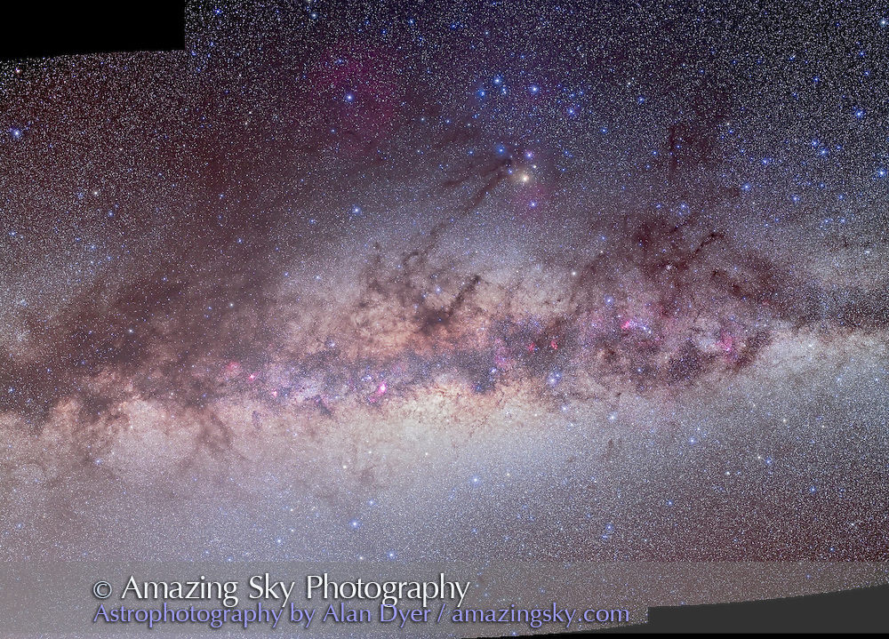 A 3-frame mosaic of the centre of the Milky Way area in Scorpius and Sagittarius, with the Milky Way extending from Scorpius to Scutum. Each frame is a stack of 4 x 6 minute exposures at f/4 with the Canon 5D MkII camera (filter-modified) at ISO 800 and with the Canon L-series 35mm lens. Plus one exposure shot for each frame thru Kenko Softon filter for star glows. All aligned and merged in Photoshop CS4. Left and right frames were off the galactic equator leaving some gaps at either side of the frame. Aargh! Shot from Atacama Lodge near San Pedro do Atacama in Chile in March 2010. Kenko Skymemo tracker used for tracked exposures. Frames are part of a larger Milky Way panorama. Brightness at lower left of frame below the Milky Way is from dawn Zodiacal Light.