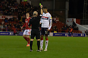 Ashley Fletcher is booked during the EFL Sky Bet Championship match between Nottingham Forest and Middlesbrough at the City Ground, Nottingham, England on 10 December 2019.