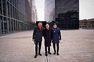 """Roma 22 Dicembre 2015<br /> Presentato lo stato di avanzamento dei lavori del nuovo centro Congressi «La Nuvola» al quartiere EUR, progettato dall'architetto Massimiliano Fuksas. Roberto Diacetti, Presidente EUR S.p.A, architetto Massimiliano Fuksas,  Enrico Pazzali, Amministratore delegato EUR S.p.A.<br /> Rome December 22, 2015<br /> Presented the state of progress of the work of the new congress center """"The Cloud"""", at the EUR district, designed by architect Massimiliano Fuksas. Roberto Diacetti, Chairman EUR SpA , architect Massimiliano Fuksas, Enrico Pazzali, CEO EUR SpA."""