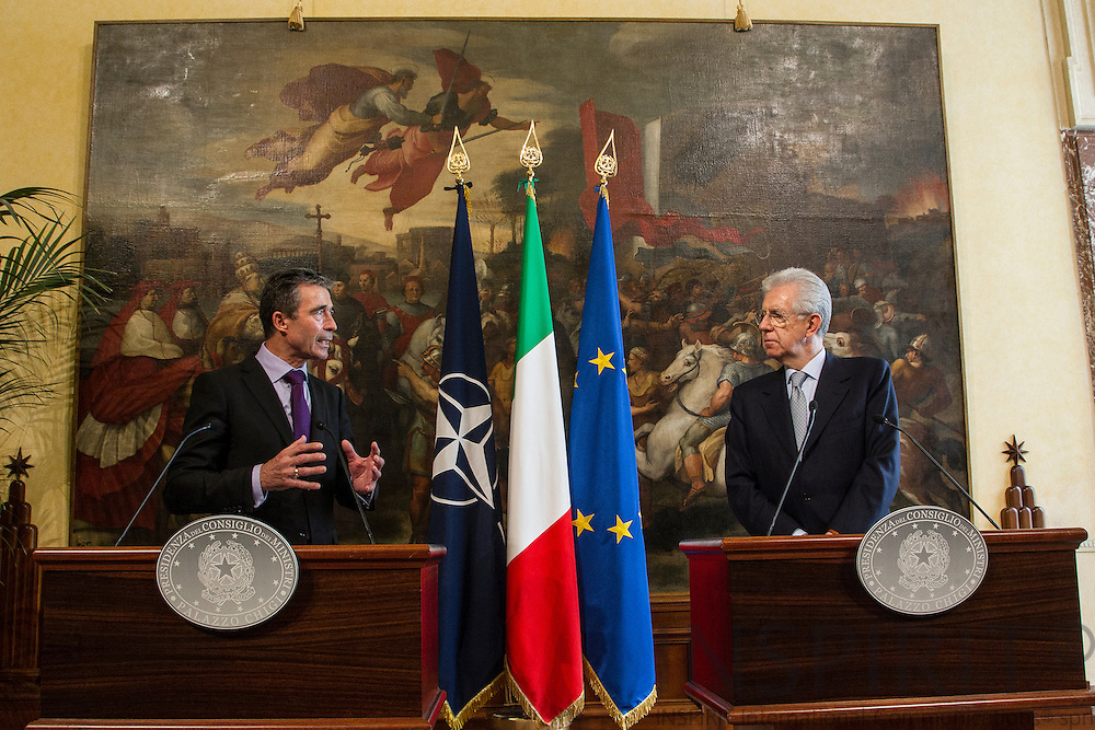NATO Secretary General Anders Fogh Rasmussen and the Italian Prime Minister Mario Monti briefing the Italian press after their bilateral meeting Piazza Colonna in Rome, Italy, on Friday 27th April 2012. Photo: Erik Luntang