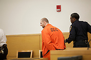 BROOKLYN, NY-- Maksim Gelman, 24, is led back in to court after he was removed for an outburst during sentencing in Brooklyn Supreme Court on the afternoon of Wednesday, January 18, 2012.  Gelman pled guilty to attempted murder in connection with his attack on a subway passenger on February 12, 2011.  <br /> <br /> CREDIT: Andrew Hinderaker for the Wall Street Journal