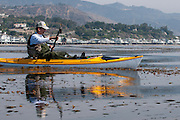 Kayak fishing near Malibu, CA.