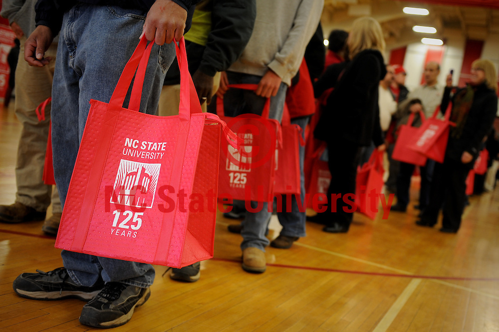 NC State employees took home a bag commemorating the 125th anniversary of the University.