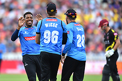 Sussex Sharks' Chris Jordan celebrates as David Wiese takes the catch of Somerset's Peter Trego during the Vitality T20 Blast Semi Final match on Finals Day at Edgbaston, Birmingham.