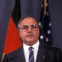West German Chancellor Helmut Kohl addresses the National Press Club in Washington, DC. Undated photo.