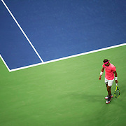 August 29, 2017 - New York, NY : The Spanish tennis player Rafael Nadal, in pink, and Serbian player Dušan Lajović (not visible) face off in Arthur Ashe Stadium on the second day of the U.S. Open, at the USTA Billie Jean King National Tennis Center in Queens, New York, on Tuesday afternoon. <br /> CREDIT : Karsten Moran for The New York Times