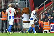 Goal - Anthony Knockaert (11) of Brighton and Hove Albion celebrates scoring a goal to give a 0-1 lead to the away team during the The FA Cup 3rd round match between Bournemouth and Brighton and Hove Albion at the Vitality Stadium, Bournemouth, England on 5 January 2019.