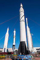 US, Florida. John F. Kennedy Space Center. Rocket Garden at the Visitor Complex. From left Juno II, Titan II, Juno I and Thor-Delta.