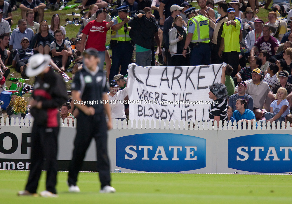 "Banner in crowd saying ""Clarkey where the bloody hell are you?"" referring to Michael Clarke who returned to Australia for personal reasons during the third one day Chappell Hadlee cricket series match between New Zealand Black Caps and Australia at Seddon Park, won by Australia by 6 wickets in Hamilton, New Zealand. Tuesday 9 March 2010. Photo: Stephen Barker/PHOTOSPORT"