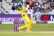 Australia ODI batsman Travis Head ducks under one during the third Royal London One Day International match between England and Australia at Trent Bridge, West Bridgford, United Kingdom on 19 June 2018. Picture by Simon Davies.