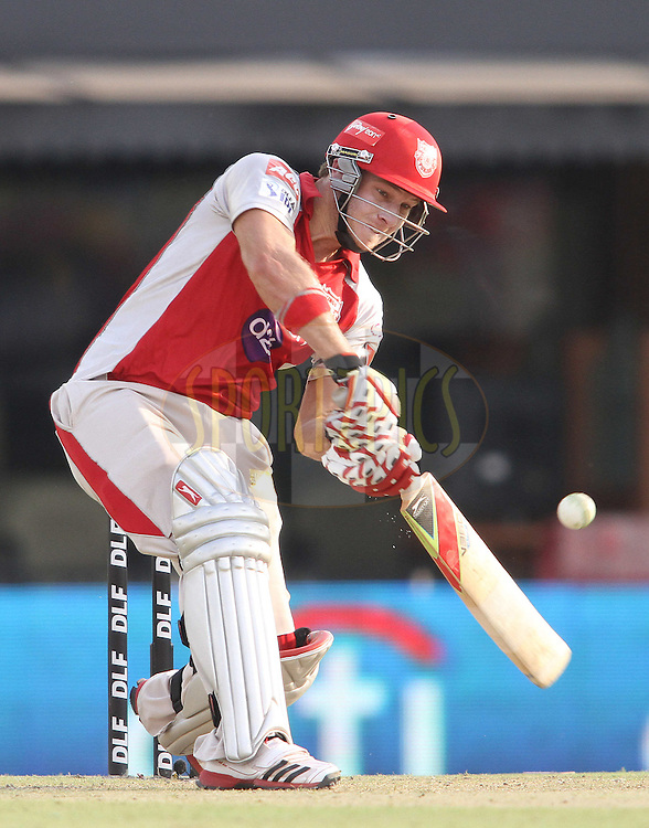 David Miller of the Kings XI Punjab attacks a delivery during match 33 of the the Indian Premier League (IPL) 2012  between The Kings X1 Punjab and The Mumbai Indians held at the Punjab Cricket Association Stadium, Mohali on the 25th April 2012..Photo by Shaun Roy/IPL/SPORTZPICS
